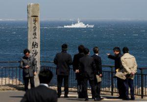 FILE PHOTO: Japan Coast Guard vessel PS08 Kariba is seen from Cape Nosappu in Nemuro on Hokkaido island