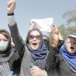 Women demonstrators from Afghanistan's Hazara minority attend a protest in Kabul